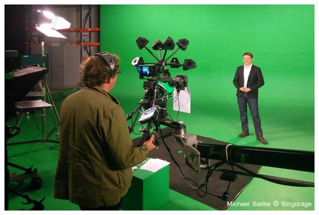 Enregistrement plateau avec le présentateur Nicolas-Xavier Ladouce de l`émission `Quel Temps` au sein du studio virtuel de Keywall. Crédit photo : Michael Baillie
