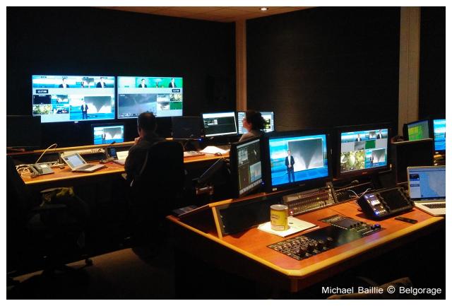 Régie du studio Keywall dans lequel sont réalisés les enregistrements des émissions `Quel temps!`. Crédit photo : Michael Baillie