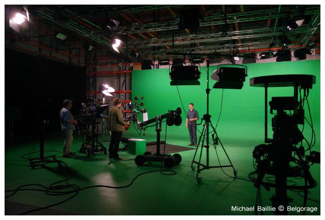 Vue d`ensemble du studio virtuel de Keywall dans lequel sont enregistrés les émissions `Quel Temps!` et la météo pour la RTBF. Crédit photo : Michael Baillie